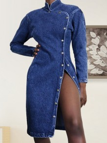 Blue Buttons Band Collar V-neck Long Sleeve Slit Denim Midi Dress