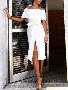 White Bow Ruffle Off Shoulder Slit Elegant Formal Cocktail Party Midi Dress