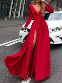 Red Draped Big Swing Deep V-neck Long Sleeve Slit Elegant Fashion Banquet Prom Maxi Dress