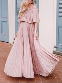 Pink Ruffle Pleated Draped Flowy Off Shoulder Short Sleeve Fashion Casual Beach Maxi Dress