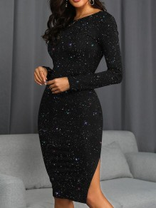 Black Glitter Sparkly Cut Out Backless Round Neck Long Sleeve Mini Dress