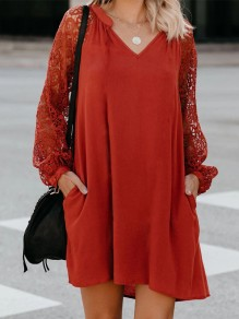 Red Patchwork Lace Oversize Long Sleeve Honey Girl Midi Dress