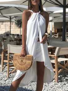 White Patchwork Irregular Condole Belt High-Low Backless Sleeveless Elegant Midi Dress