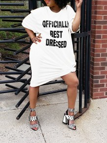 "White Plus Size ""OFFICIALLY BEST DRESSED"" Letter Print Round Neck Short Sleeve Oversize Casual Midi Dress"