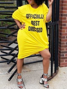 "Yellow Plus Size ""OFFICIALLY BEST DRESSED"" Letter Print Round Neck Short Sleeve Oversize Casual Midi Dress"