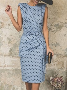 Blue Polka Dot Wrap Ruched Fashion Party Casual Skater Midi Dress