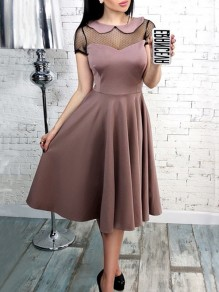 Pink Patchwork Grenadine Draped Peter Pan Collar Short Sleeve Midi Dress