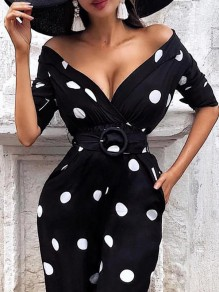 Black-White Polka Dot Pockets Belt V-neck Off Shoulder Elbow Sleeve Work Midi Dress