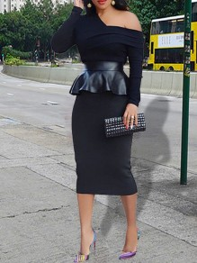 Black Patchwork PU Leather Ruffle Peplum One-shoulder Long Sleeve Bodycon Work Midi Dress