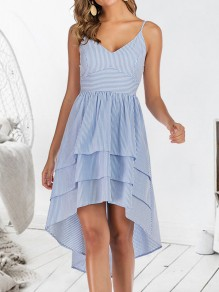 Light Blue Striped Print Ruffle Spaghetti Strap V-neck High-low Elegant Casual Midi Dress