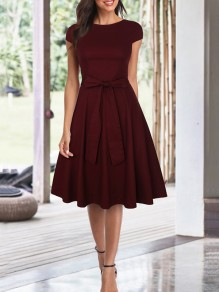 Wine Red Bow Draped Round Neck Short Sleeve Elegant Wedding Prom Ruched Midi Dress