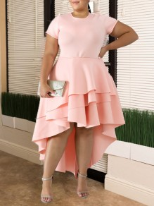 Pink Patchwork Layers Of Ruffle Plus Size Round Neck Short Sleeve High-low Swallowtail Work Casual Midi Dress