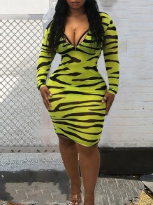 Yellow Zebra Skin Print Zipper High Neck V-neck Long Sleeve Bodycon Clubwear Hot Midi Dress