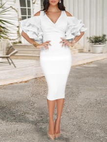 White Zipper V-neck Layers Of Ruffle Sleeve Slit Bodycon Work Midi Dress
