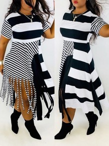 White-Black Striped Patchwork Tassel Round Neck Short Sleeve Big Swing Casual Midi Dress