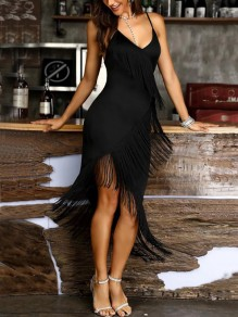 Black Tassel Irregular Spaghetti Strap V-neck Fashion Midi Dress