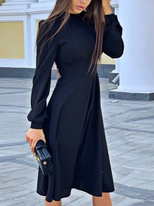 Black Draped High Neck Long Sleeve Fashion Midi Dress