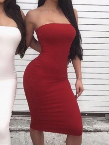 Red Bodycon Sleeveless Cocktail Party Elegant Midi Dress