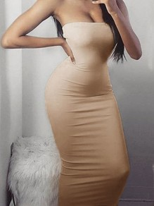 Khaki Bodycon Sleeveless Cocktail Party Elegant Midi Dress