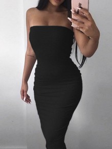 Black Bodycon Sleeveless Cocktail Party Elegant Midi Dress
