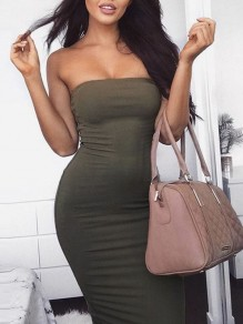 Army Green Bodycon Sleeveless Cocktail Party Elegant Midi Dress