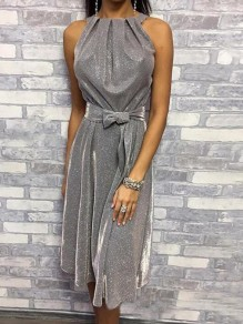 Silver Sashes Halter Neck Bright Wire Banquet Sparkly Party Midi Dress