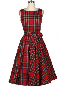 Red Plaid Bow A-Line Round Neck Sleeveless Elegant Midi Dress