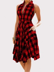 Burgundy Black Plaid Single Breasted Pockets Irregular Sleeveless Midi Dress