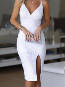 White Patchwork Sequin Spaghetti Strap V-neck Backless Midi Dress