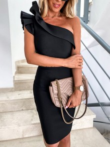Black Ruffle Asymmetric Shoulder Cocktail Party Midi Dress