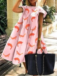 Pink Cartoon Fishes Pattern Draped Short Sleeve Holiday Midi Dress
