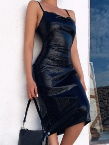 Black PU Leather Spaghetti Strap Backless Fashion Midi Dress