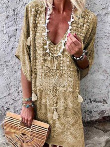 Khaki Floral Tassel Elbow Sleeve Bohemian Midi Dress