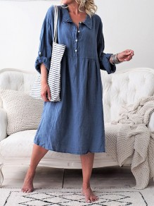 Blue Patchwork Buttons Turndown Collar Long Sleeve Oversized Midi Dress