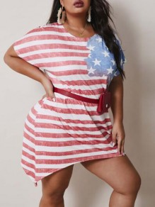 Red-White Striped American Flag Pattern Irregular Independence Day Plus Size Casual Midi Dress