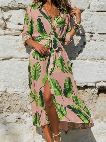 Pink Palm Leaves Print Sashes V-neck Bohemian Beach Midi Dress