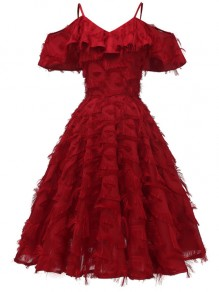 Red Tassel Ruffle Off-Shoulder A-Line Sleeveless Elegant Midi Dress
