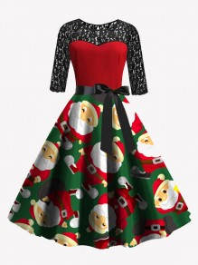Red Green Patchwork Lace Bow Sashes Round Neck Santa Claus Midi Dress
