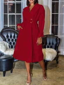 Red Belt Pockets V-neck Long Sleeve Slit Elegant Midi Dress Trench Coat