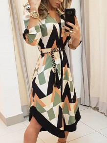 White Green Geometric Print Buttons Belt V-neck Fashion Midi Dress
