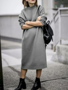 Robe mi-longue col rond manches longues mode oversize gris