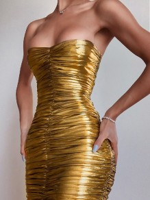 Metallic Golden Bandeau V-neck Ruched Hip Bodycon Party Midi Dress