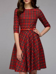 Red-Black Plaid Draped 3/4 Sleeve Buffalo Flannel Elegant Christmas Party Midi Dress