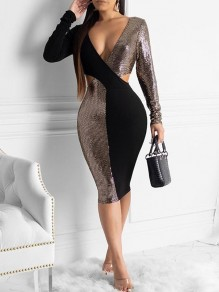 Black Sequin Cut Out V-neck Long Sleeve Glitter Sparkly Birthday Party Midi Dress