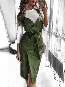 Green Bow V-neck Sleeveless Slit Leather Fashion Midi Dress