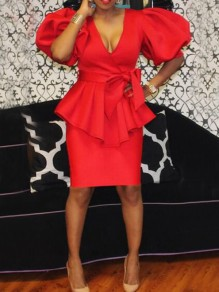 Red Ruffle Puff Sleeve Deep V-neck Peplum Half Sleeve Elegant Party Midi Dress