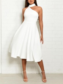 White Irregular Halter Neck Oblique Shoulder Sleeveless Elegant Wedding Gowns Prom NYE Midi Dress