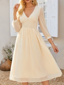 Beige Polka Dot Grenadine V-neck Long Sleeve Elegant Midi Dress