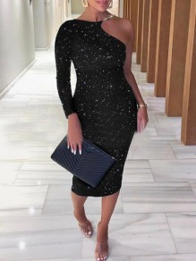 Black Irregular Asymmetric Shoulder Halter Neck Sparkly Banquet Party Midi Dress
