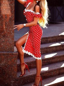 Red-White Polka Dot Irregular Lace Side Slit Off Shoulder Bodycon Clubwear Party Midi Dress